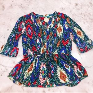 ⭐️ ANTHROPOLOGIE Maeve button down peplum top ⭐️